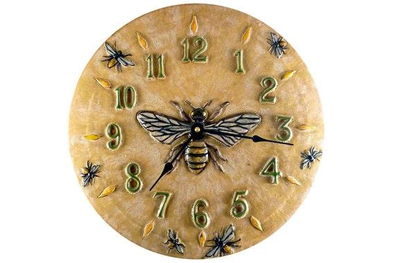 Ceramic Art Wall Clock (Honeybee- violet on terra cotta)