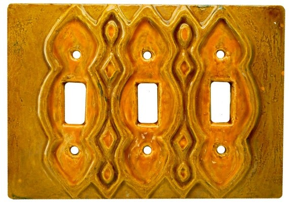 Ceramic Light Switch Cover- Moroccan Triple Toggle Switch Plate in amber
