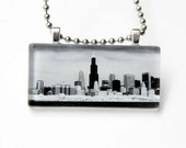 Chicago Skyline - Glass pendant with chain