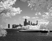 Chicago Skyline from Belmont Harbor - 48 x 30 Fine Art Infrared Photograph