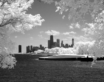 Chicago Skyline from Belmont Harbor - 8x12 Fine Art Infrared Photograph