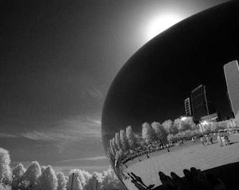 Cloud Gate Reflection- 8x12 Fine Art Infrared Photograph