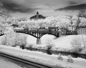 Biking through Galena Illinois  - 8x12 Fine Art Infrared Photograph