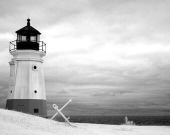 Vermilion Lighthouse in Vermilion Ohio -  8x12 Fine Art Infrared Photograph