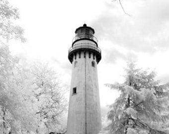 Grosse Point Light in Evanston- 8x12 Fine Art Infrared Photograph