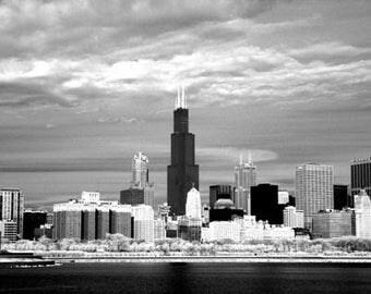 Chicago Skyline - 8x12 Fine Art Infrared Photograph