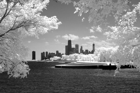 Chicago Skyline from Belmont Harbor - 8x12 Fine Art Infrared Photograph