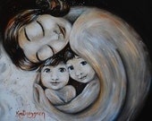 Home, mother with 2 kids  with dark hair art print