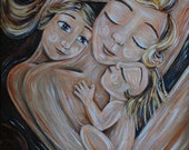 Joy & Peace - Archival 12x12 signed motherhood art print from an acrylic painting by Katie m. Berggren
