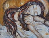 mother and child yellow sleeping son long hair - You & Us - Archival signed motherhood print