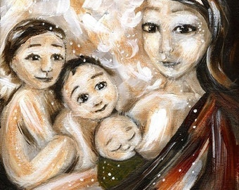 Bare Essence - Archival signed motherhood print from an acrylic painting by Katie m. Berggren