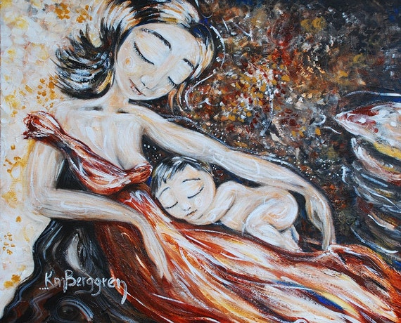 mother and child art print - Here & Now - archival signed 12x12 motherhood print