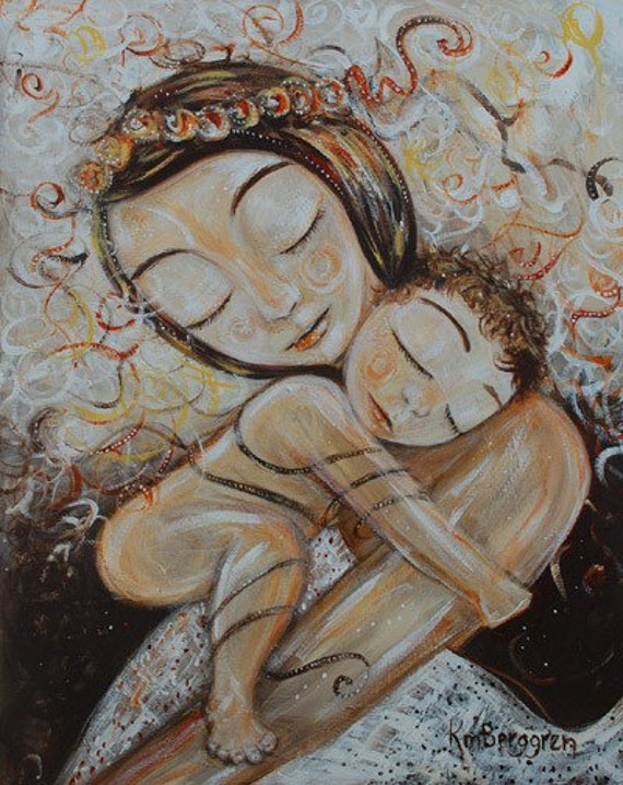 Cling - Archival 8x10 signed motherhood print from an acrylic painting by Katie m. Berggren