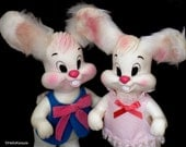 Vintage Kitschy Bunny with Furry Ears - Boy