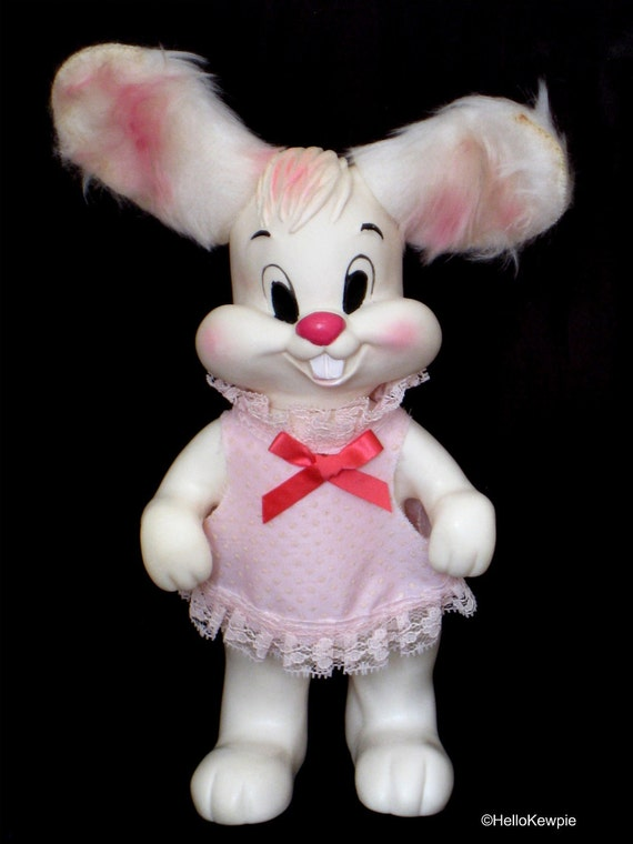 Vintage Kitschy Bunny with Furry Ears - Girl
