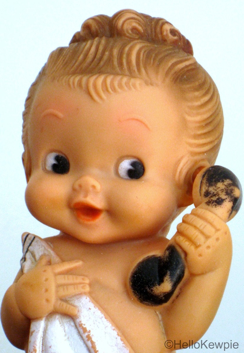 Vintage 1957 Rubber Doll WearingTowel Holding Phone