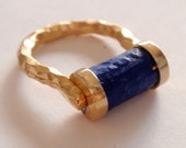 Lapis Lazuli Seal Gold Hand Hammered Antique Style Ring