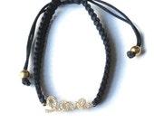 18K Gold Vermeil Love Bracelet with Swarovski Crystals - Perfect Gift - Celebrity Style - Black Macrame Bracelet