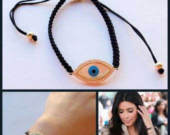 Celebrity Evil Eye Black Macrame Bracelet-Gold Vermeil with Swarovski crystals-As seen on Kim Kardashian