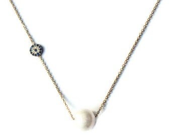 Pearl and Mini Evil Eye Gold Vermeil Celebrity Necklace - Perfect Gift for Her