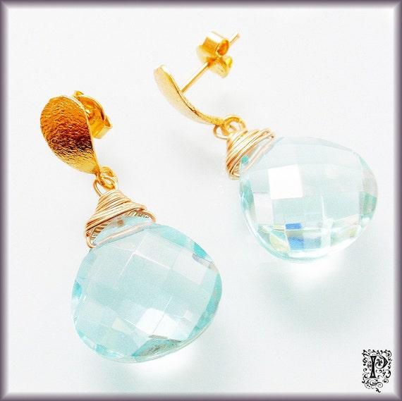 Gold Satin Aquamarine Quartz Teardrop Earrings