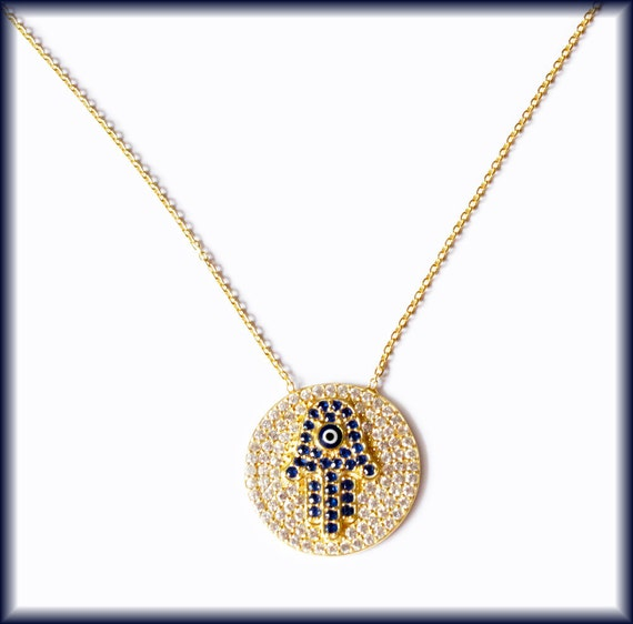 Celebrity Hamsa Evil Eye and Pave Swarovski Gold Vermeil