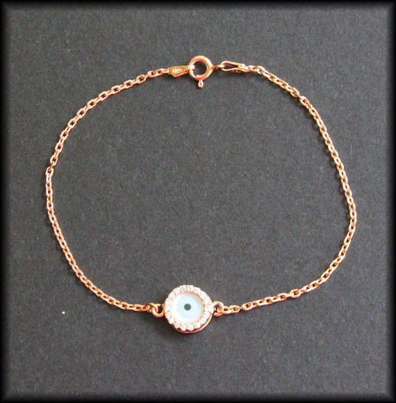 Celebrity Round Mother of Pearl Evil Eye Rose Gold Vermeil Bracelet-Double sided with CZ stones