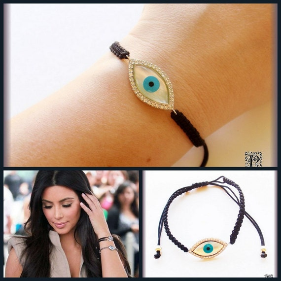 Celebrity Evil Eye Black Macrame Bracelet Sterling Silver With