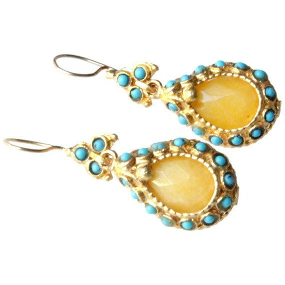 Yellow Jade and Turquoise Drop Antique Style  Earrings
