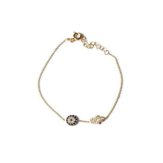 Evil Eye and Sideways Hamsa Hand Gold Vermeil Bracelet with Pave Swarovski Crystals