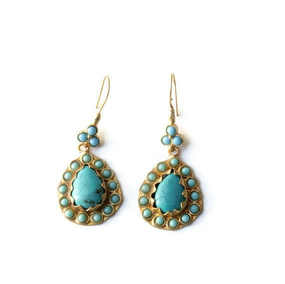 Turquoise and Amazonite Drop Antique Style  Earrings - Turkish Earrings - Gold Plated
