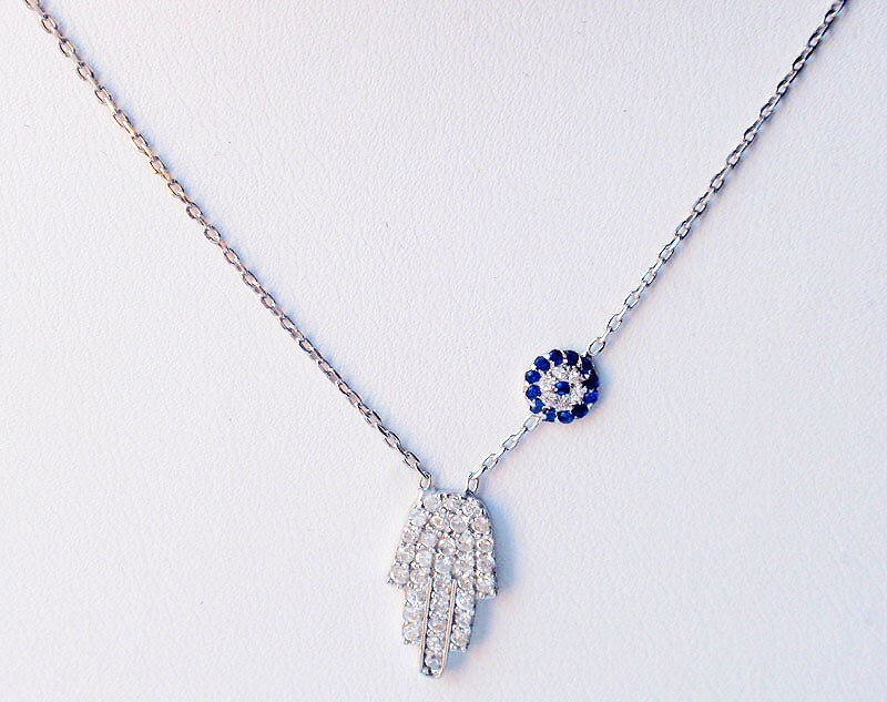 SALE Celebrity Hamsa and Evil Eye Sterling Silver Necklace