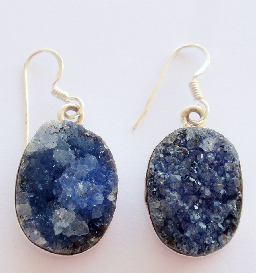 Sterling Silver Natural Raw Sapphire Earrings Reserved For