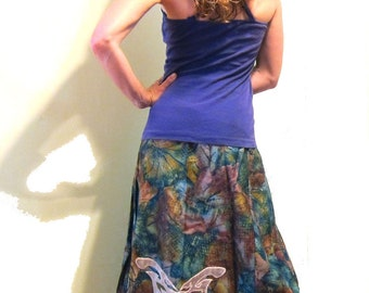 ON SALE- Butterfly Shimmer A-Line Hippie Skirt - Appliqued, Vintage Fabric