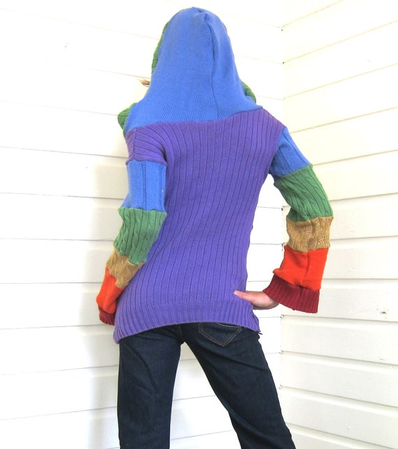 Upcycled Sweater Rainbow Hoodie