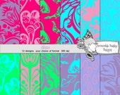 Scrapbooking Papers Pink Green Purple Damask Digital Download Alissa