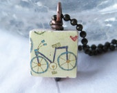 Bicycle on Baby Scrabble Tile with Antique Brass Chain