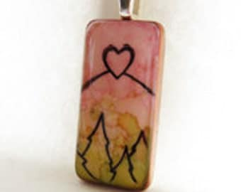 Mountain of Heart Domino Pendant
