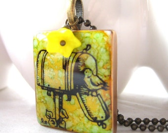 You've Got Mail Letter Tile Pendant with Antique Brass Chain and Glass Bead