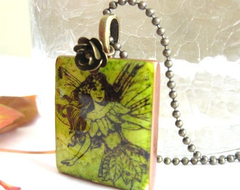 Fairy Letter Tile Necklace with Antique Brass Chain