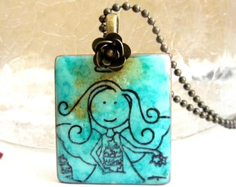 Angel Letter Tile Necklace with Antique Brass Chain