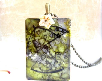 Lady Rian Game Tile Necklace with Antique Brass Chain