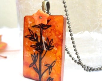Bamboo Game Tile Necklace with Antique Brass Chain