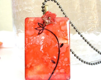 Long Stem Flower Game Tile Necklace with Antique Brass Chain