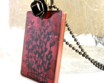 Stems of Leaves Game Tile Necklace with Antique Brass Chain