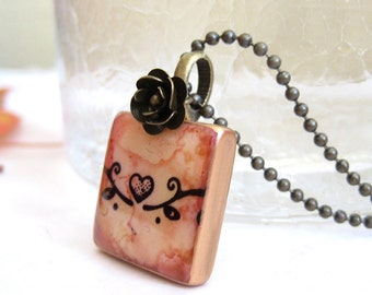 Heart on a Vine Letter Tile Necklace with Antique Brass Chain
