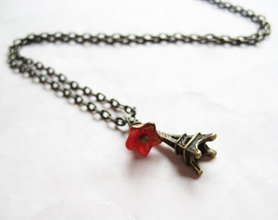Little Red Flower on Eiffel Tower Necklace