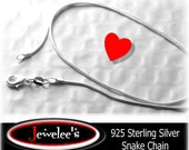 925 Sterling Silver Plated SNAKE Chain Necklace 16 Inch WHOLESALE Lot of 10 1 mm GORGEOUS