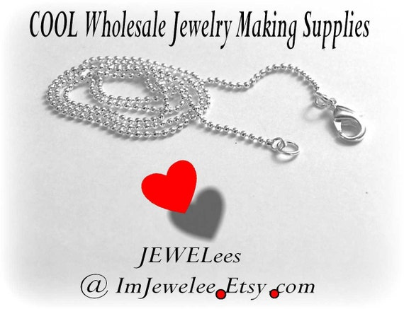 100 Ball Chain Necklace TEENY TINY Ballchain Silver Plated 18 Inch