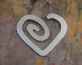 """5 Deburred 18G Aluminum 1 1/2"""" inch X 1 3/8"""" HEART SPIRAL Stamping Blanks"""